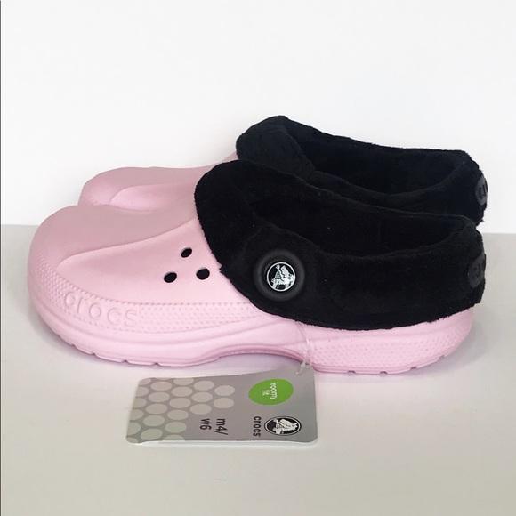85e8f9bd9355b CROCS Blitzen Clogs Pink Black Women s 6 NWT